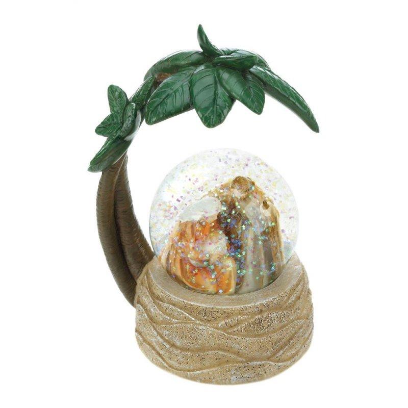 Image 1 of Nativity Scene Snow Globe under Palm Tree Christmas Decor