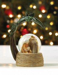 Nativity Scene Snow Globe under Palm Tree Christmas Decor