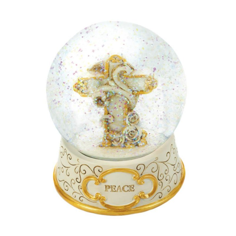Image 1 of Beige and Gold Peaceful Cross Snow Glow Holiday Decor
