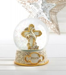 Beige and Gold Peaceful Cross Snow Glow Holiday Decor