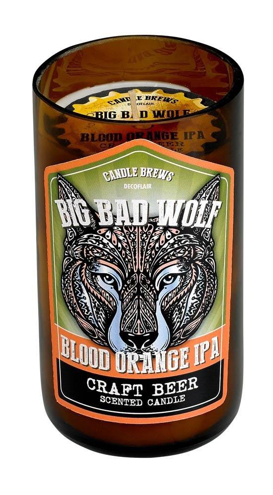 Image 0 of Big Bad Wolf Blood Orange IPA Beer Scented Candles in Brown Glass Jar