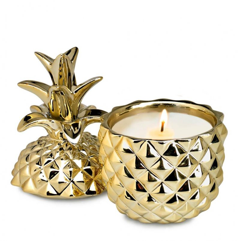 Image 0 of Tropical Scented Candle In a Golden Pineapple Ceramic Jar 30 Hour Burn Time
