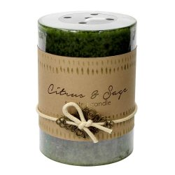 Citrus and Sage Scented 3x4 Pillar Candle  60 Hour Burn Time