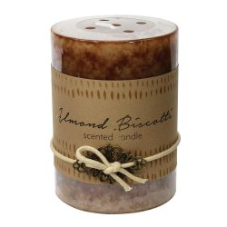 Almond Biscotti Scented 3x4 Pillar Candle  60 Hour Burn Time