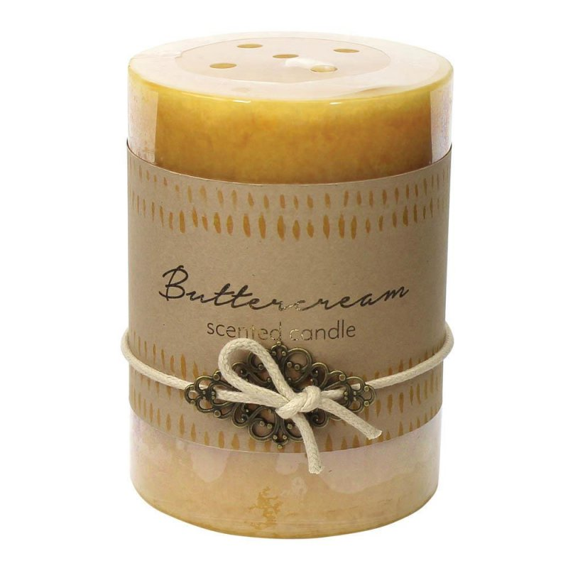 Image 0 of Buttercream Scented 3x4 Pillar Candle  60 Hour Burn Time