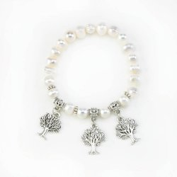Pearl Bead Stretch Bracelet with Three Tree Charms