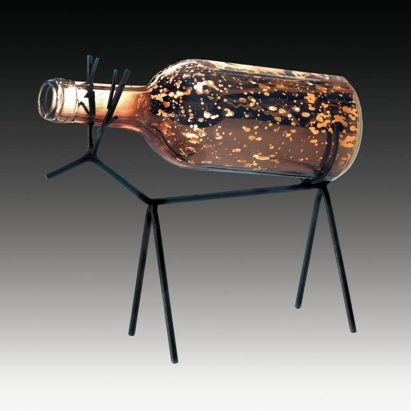 Image 1 of LED Light Glass Bottle Lantern on Reindeer Stand Christmas Decor