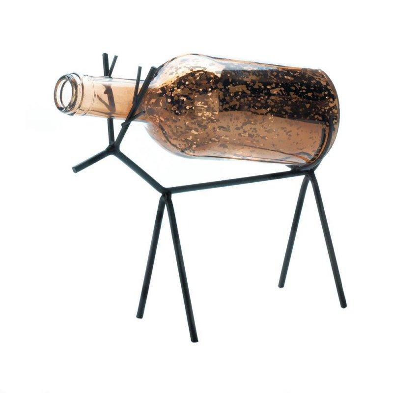 Image 2 of LED Light Glass Bottle Lantern on Reindeer Stand Christmas Decor