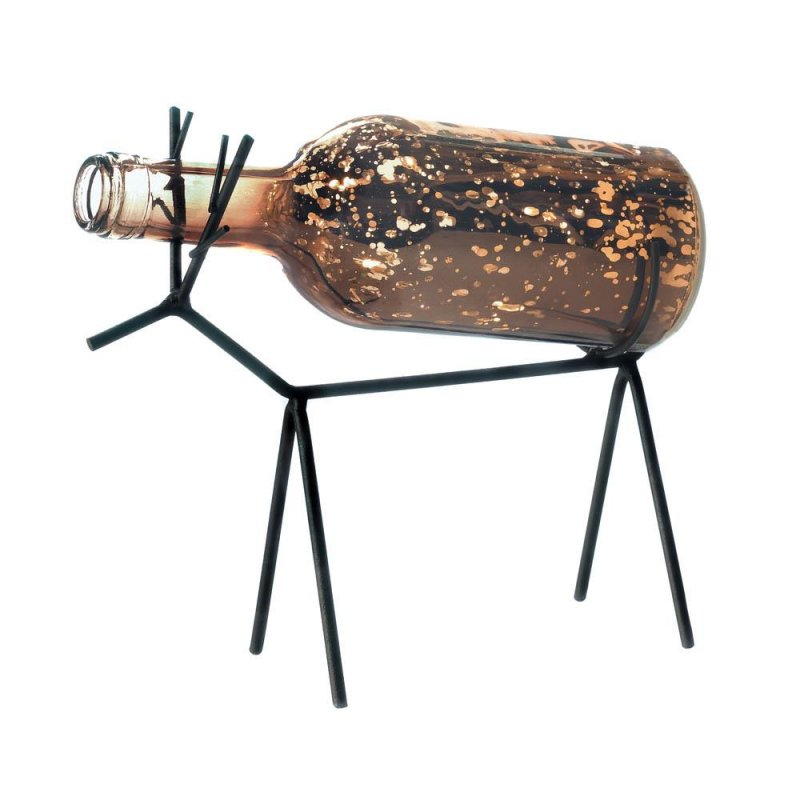 Image 3 of LED Light Glass Bottle Lantern on Reindeer Stand Christmas Decor