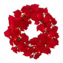 Red Poinsettia Door Wreath w/ Fairy LED Lights Christmas Decor Battery Operated