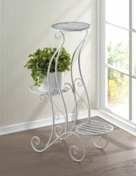 White Iron Curlicue Design 3 Tier Plant Stand