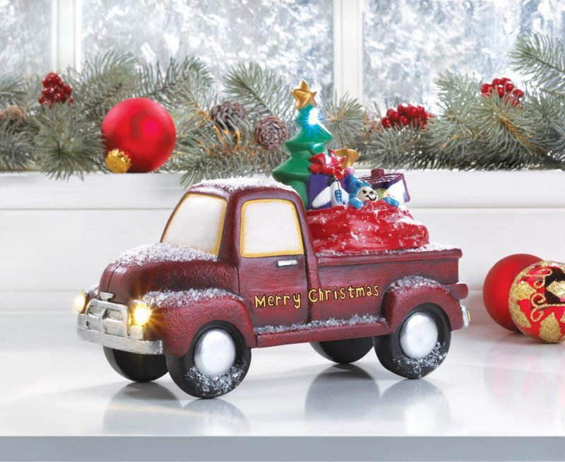 Image 0 of Old Time Red Truck Delivering Toys w/ Light Up LED Headlights & Merry Christmas