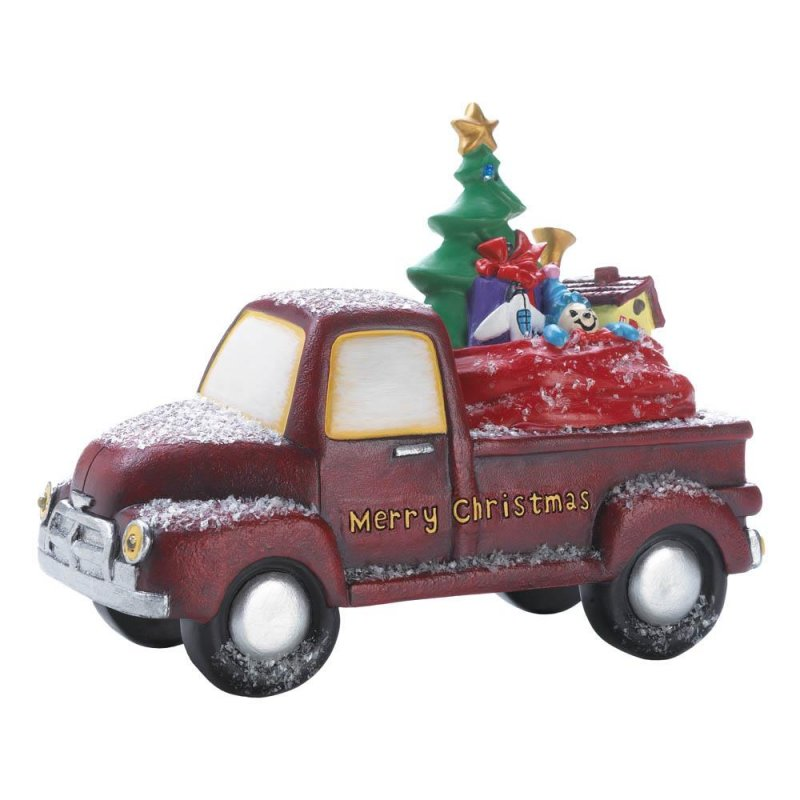 Image 1 of Old Time Red Truck Delivering Toys w/ Light Up LED Headlights & Merry Christmas