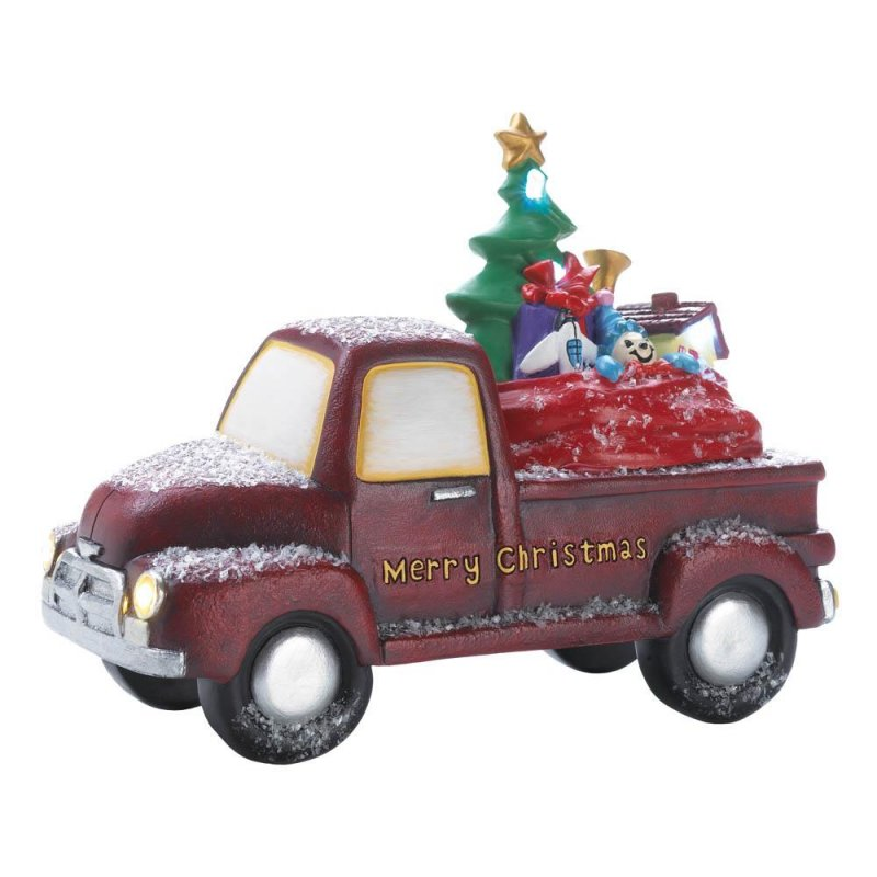 Image 2 of Old Time Red Truck Delivering Toys w/ Light Up LED Headlights & Merry Christmas