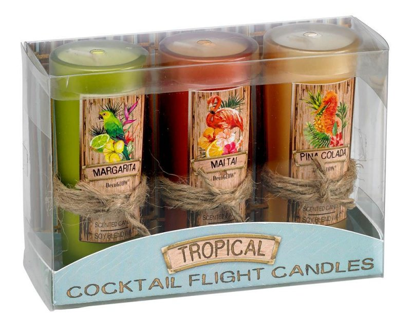 Image 1 of Set of 3 Shotglass Margarita, Mai Tai, Pina Colada Tropical Cocktail Jar Candles