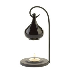 Contemporary Black Tear Drop Oil Warmer on Metal Stand