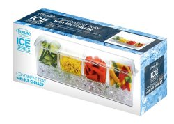 Condiment, Snack, Fruit  Ice Chiller Tray 4 Compartments Hinged Lid