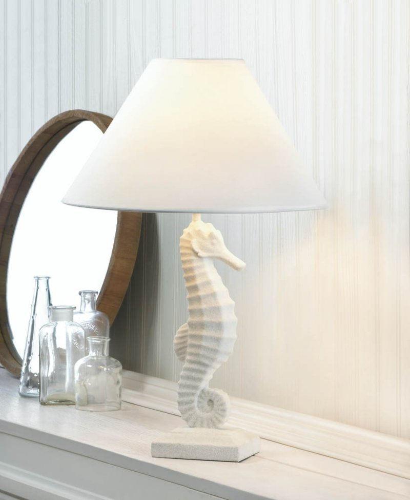 Image 0 of Seahorse Table Lamp w/ Neutral Fabric Shade White Nautical Style