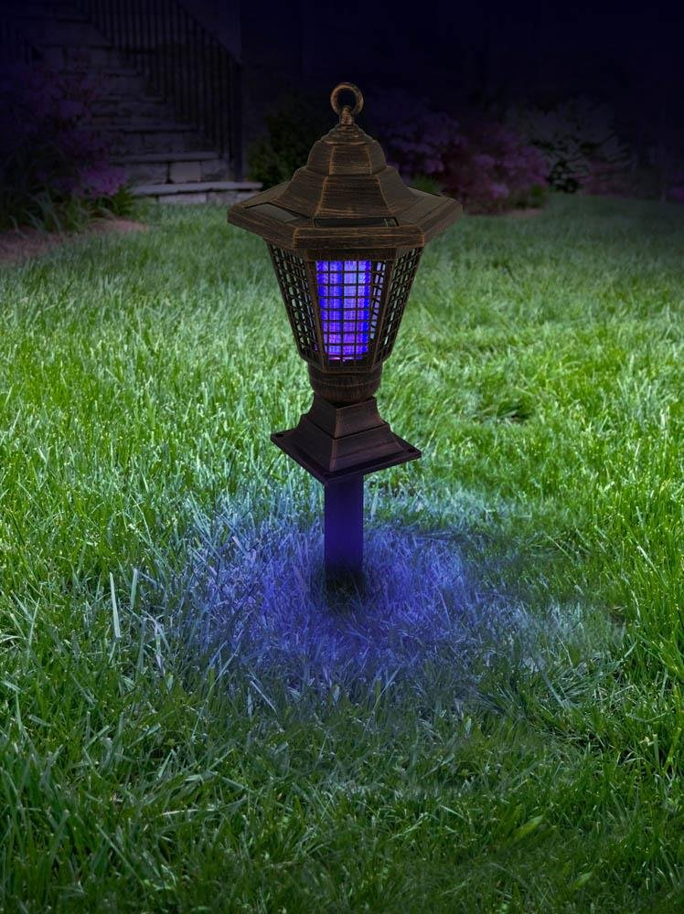 Image 2 of 2 in 1 Solar Light Bug Zapper Tabletop Lantern or Pathway Garden Stake