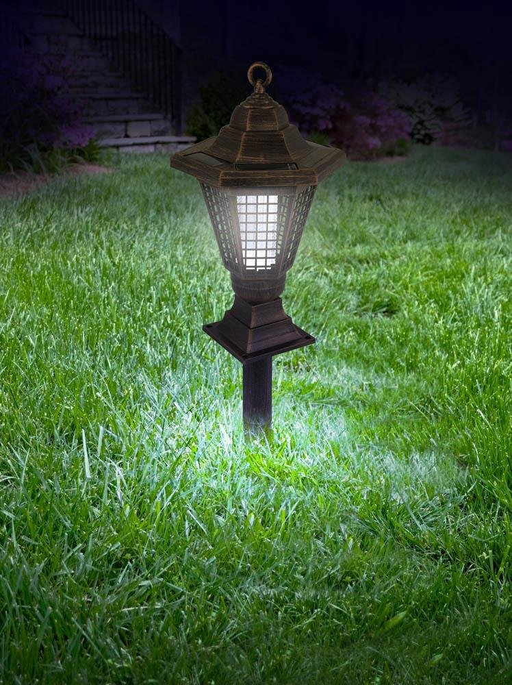 Image 3 of 2 in 1 Solar Light Bug Zapper Tabletop Lantern or Pathway Garden Stake