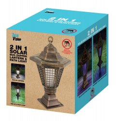 2 in 1 Solar Light Bug Zapper Tabletop Lantern or Pathway Garden Stake