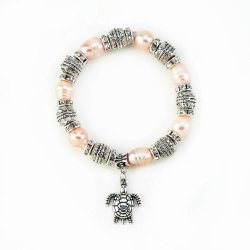 Fresh Water Pink Pearl Beads Stretch Bracelet with Turtle Charm