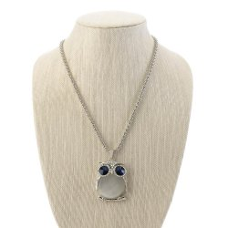 White Plastic Crystal Owl Pendant on Gold Chain Necklace 26 Long