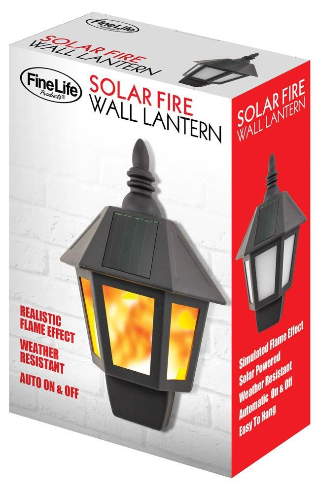 Image 0 of Solar Fire Wall Mounted Outdoor Lantern Weather Resistant Hardware Not Included