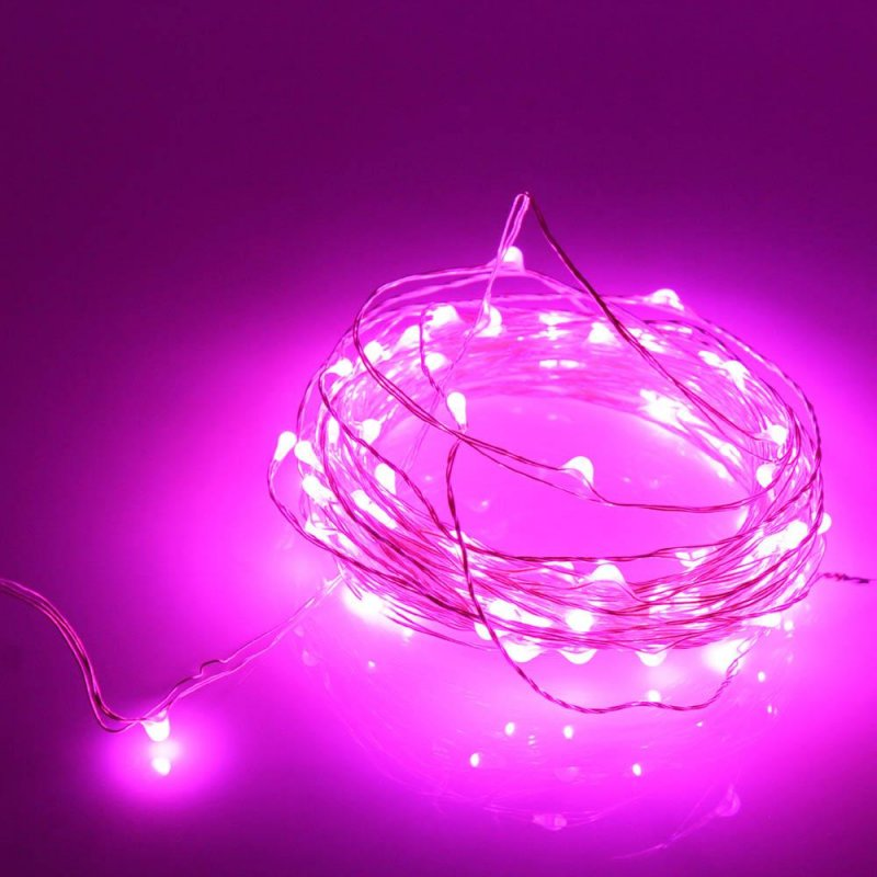 Image 1 of  20 LED Copper String Pink Fairy Lights 7 Feet Long