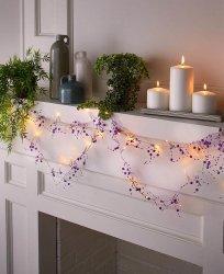 20 LED Fairy Lights with Purple Beads 3 Feet Long
