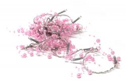 20 LED Fairy Lights with Pink Beads 3 Feet Long