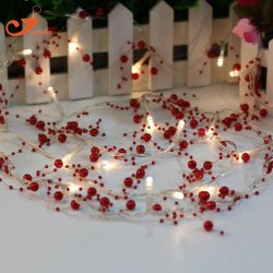 20 LED Fairy Lights with Red Beads 3 Feet Long
