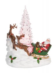 Light Up Santa in His Sleigh and Reindeer with White Christmas Tree
