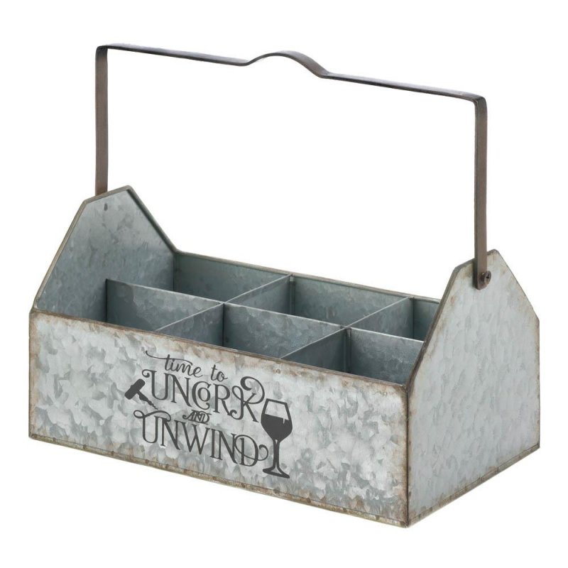 Image 0 of Country Farmhouse Galvanized Metal Wine Caddy Holds 6 Bottles