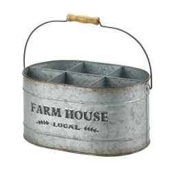 Rustic Country Farmhouse Galvanized Metal Wine Bucket Caddy Holds 6 Bottles