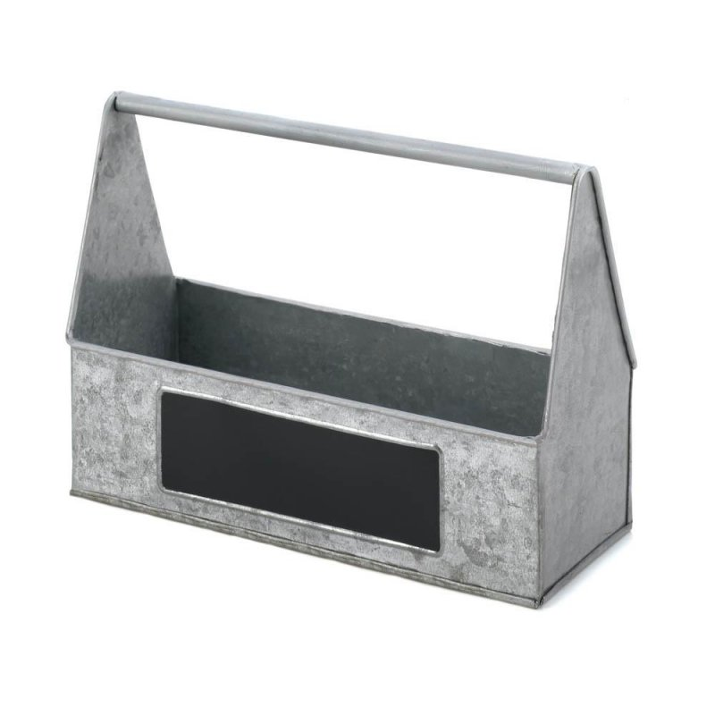 Image 0 of Rustic Country Farmhouse Galvanized BBQ Picnic Caddy for Napkins, Silverware