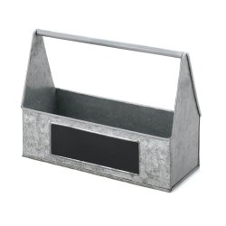 Rustic Country Farmhouse Galvanized BBQ Picnic Caddy for Napkins, Silverware