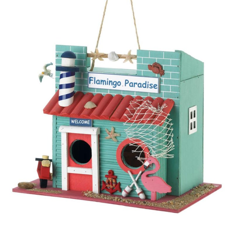 Image 0 of Flamingo Paradise Decorative Birdhouse w/ Lighthouse Chimney 1 1/4