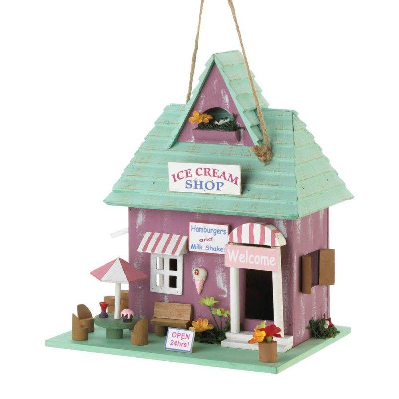 Image 0 of Milk Shake & Ice Cream Shop Decorative Birdhouse 1 1/4