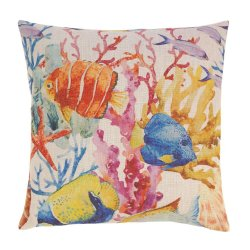 Coral Reef Decorative Accent Pillow w/ Tropical Fish 17 x 17 Square