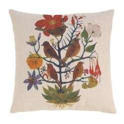Natural Garden Decorative Accent Pillow w/ Birds 17 x 17 Square