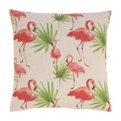 Tropical Pink Flamingos & Palm Trees Decorative Accent Pillow  17 x 17 Square