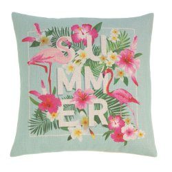 Pink Flamingos Summer & Flowers Decorative Accent Pillow  17 x 17 Square
