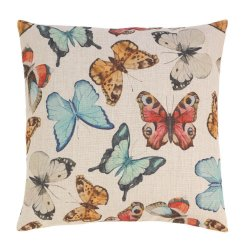 Colorful Butterfly Print Decorative Accent Pillow  17 x 17 Square