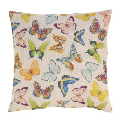 Bright Colorful Butterflies Decorative Accent Pillow  17 x 17 Square
