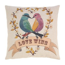 Heart Shape Branch w 2 Love Birds Love Wins Accent Pillow  17 x 17 Square