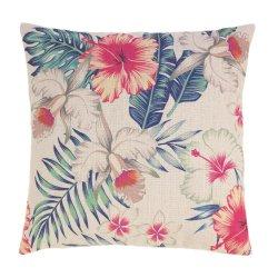 Retro Style Maui Island Floral & Palm Decorative Accent Pillow  17 x 17 Square
