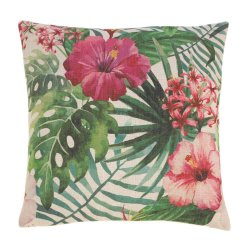 Hawaiian Botanical Hibiscus Flowers Decorative Accent Pillow  17 x 17 Square