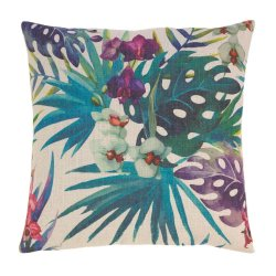 Hawaiian Nights Jeweled Tone Floral Decorative Accent Pillow  17 x 17 Square