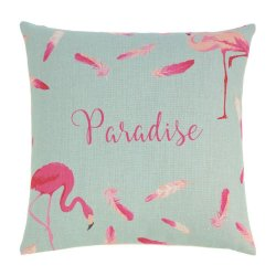 Tropical Pink Flamingos & Feathers Decorative Accent Pillow  17 x 17 Square